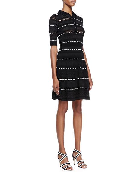 Textured-Knit Flared Dress