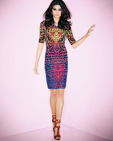 Lizard-Print Jacquard Half-Sleeve Dress