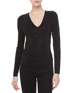 Michael Kors V-Neck Top with Stones