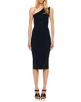 Michael Kors One-Shoulder Studded Dress, Black