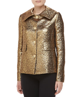 Michael Kors Pebbled Brocade Jacket, Gold