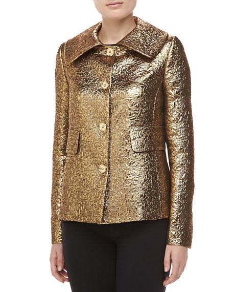 Michael Kors Pebbled Brocade Jacket, Gold