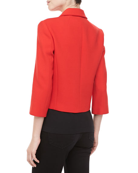 Boucle Three-Button Cropped Jacket, Coral