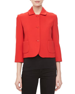 Michael Kors Boucle Three-Button Cropped Jacket, Coral