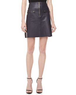 Michael Kors Plonge Leather A-line Zip-Front Skirt