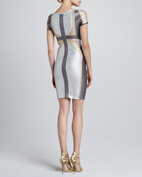 b30ee04d30d0 Herve Leger Colorblock Metallic Bandage Dress