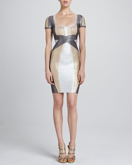 Colorblock Metallic Bandage Dress