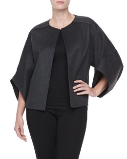 Michael Kors Wool Cape-Sleeve Melton Coat