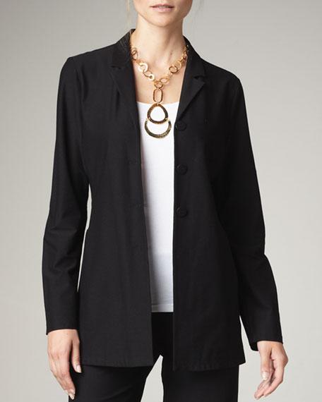 Washable-Crepe Long Jacket, Women's