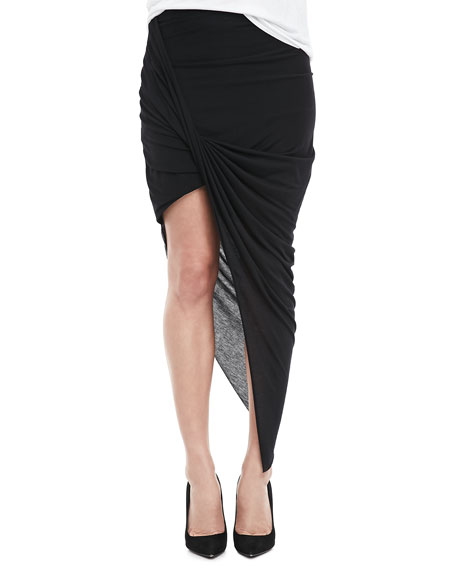 Asymmetric Fitted Jersey Skirt