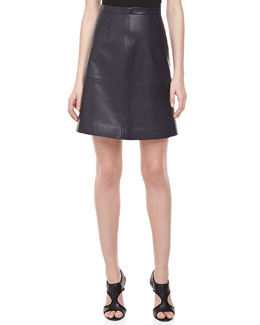 Michael Kors Plonge Leather Banded Skirt