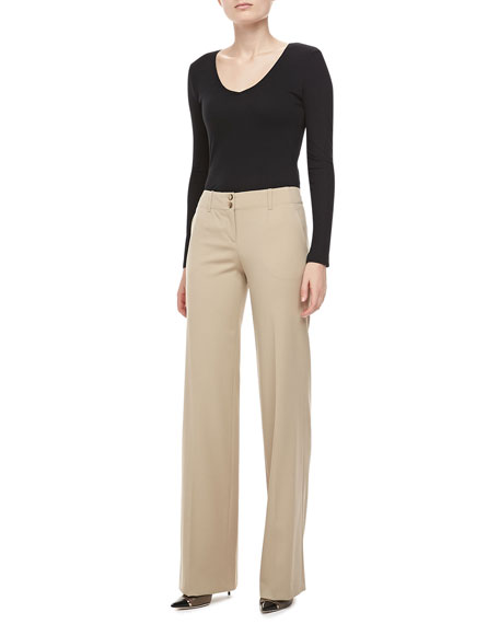 Gabardine Wide-Leg Pants, Hemp