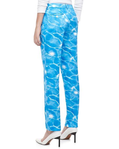 Michael Kors Samantha Pool-Print Duchesse Skinny Pants