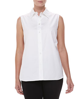 Michael Kors Sleeveless Poplin Top, White