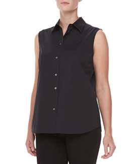 Michael Kors Sleeveless Poplin Top, Black