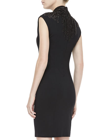 Embellished Ponte Sheath Dress