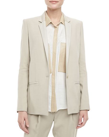 Helmut Lang Noa Leather-Trim Blazer, Tan