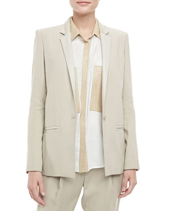 Noa Leather-Trim Blazer, Tan