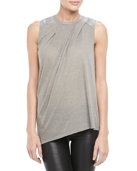 Leather-Panel Draped Top