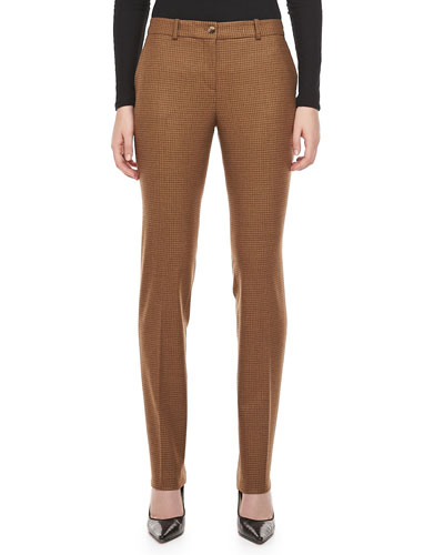 Michael Kors Country Check Wool Pants, Chocolate