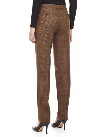 Westminster Plaid Straight-Leg Pants, Chocolate
