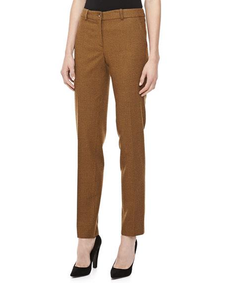 Check Flannel Straight-Leg Pants, Chocolate