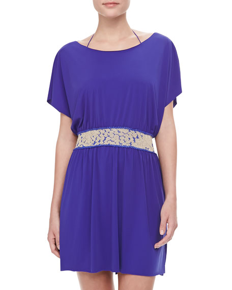 Contrast-Belt Flowy Coverup Dress