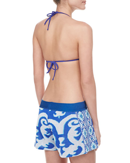 Azuljelos Printed Canvas Coverup Shorts