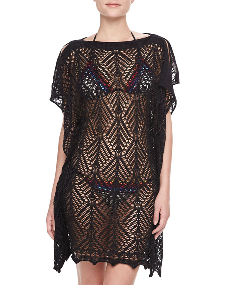 Rendado See-Through Caftan Coverup