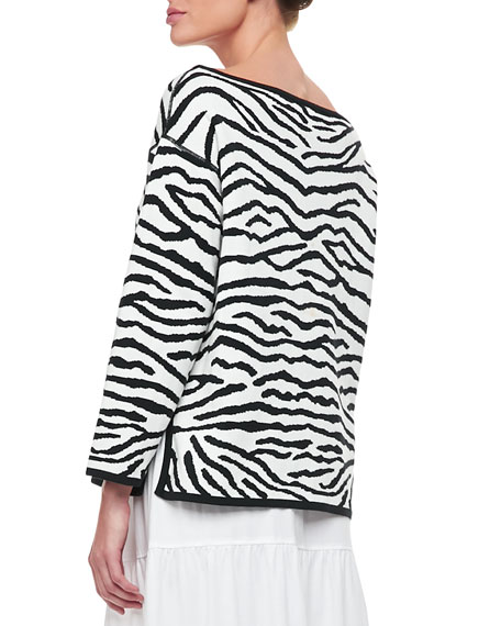 Reversible Animal Print Pullover Sweater, Petite