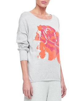 Joan Vass Sequin Dolman Sleeve Sweater
