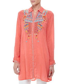 Johnny Was Collection Gloria Embroidered Flower Tunic