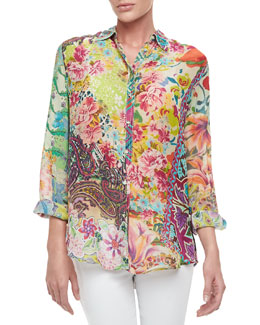 Johnny Was Collection Bermuda Button-Front Blouse