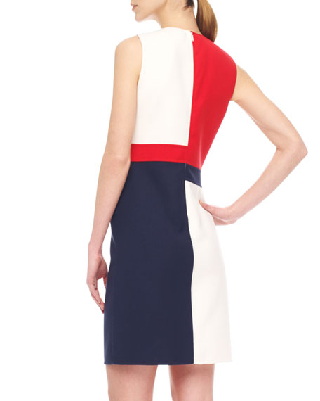 Colorblock Crepe Dress