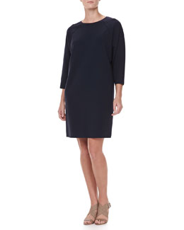 Michael Kors Double-Faced Shift Dress, Midnight