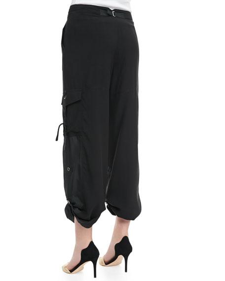 Silk Cargo Pants, Petite