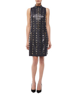Michael Kors Leather & Grommet Moto Shift Dress