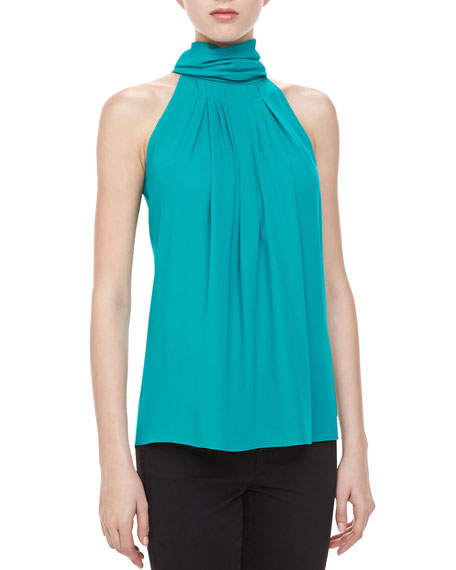 Silk Georgette Pleated Top, Turquoise