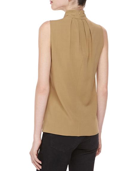 Silk Georgette Self-Tie Top, Fawn