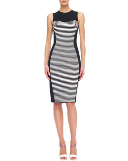 Michael Kors  Solid-Panel Striped Ponte Dress