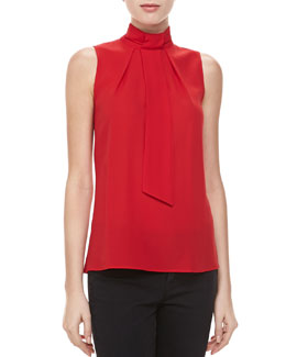 Michael Kors Silk Georgette Self-Tie Top, Crimson