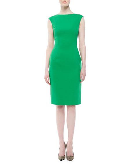 Boucle Cap-Sleeve Sheath Dress