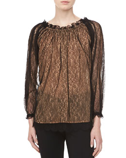 Michael Kors Chantilly Lace Top, Black