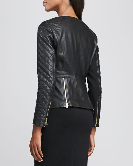 Motorcycle Jacket with Quilted Sleeves