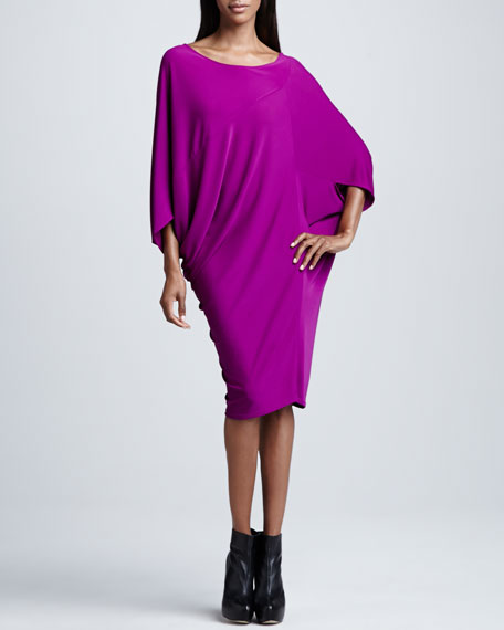 3/4-Sleeve Draped-Front Dress