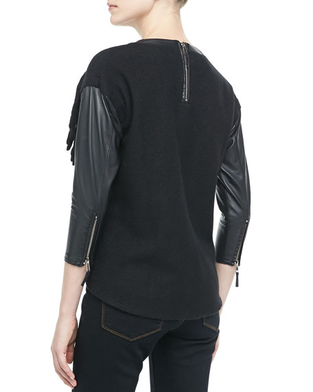 Sparkle-Robot Leather Top