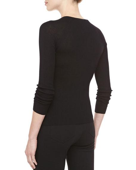 Button-Shoulder Cashmere Top, Black