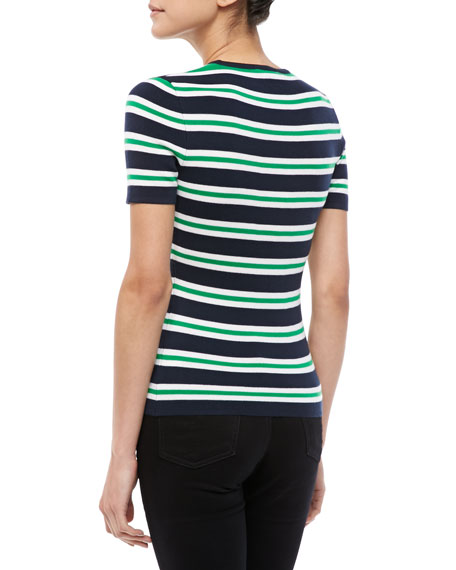 Striped Cashmere Short-Sleeve Tee