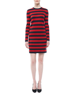 Michael Kors Striped Cashmere Fitted Dress