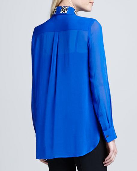 Long-Sleeve Embellished-Collar Blouse